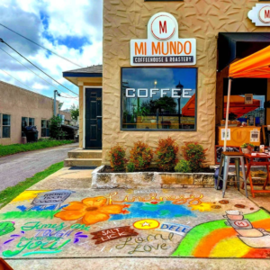 Mi Mundo Coffee Roaster front view, with chalk mural