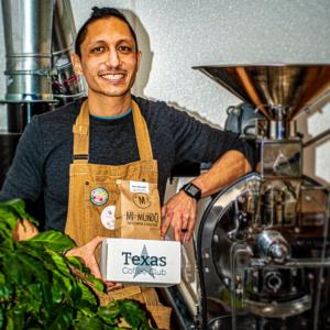 Mi Mundo Coffee Roaster, Sabin Shrestha with Texas Coffe Club Box