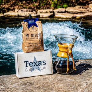 Mi Mundo Coffee Roaster, with a Pour  Over and Texas Coffe Club Box