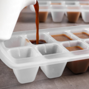 Pour your drip texas roasted coffee into a silicone ice cube tray
