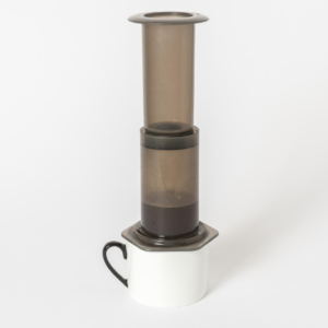 Aeropress coffee maker. Used for creating a strong cup of espresso quality coffee. Click the image to buy your own!